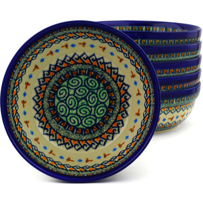 "Polish Pottery Set of 6 Bowls 7"" Albuquerque UNIKAT"