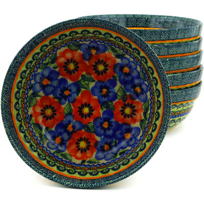 "Polish Pottery Set of 6 Bowls 7"" Blue And Red Poppies UNIKAT"