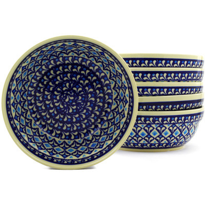 "Polish Pottery Set of 6 Bowls 7"" Blue Diamond"