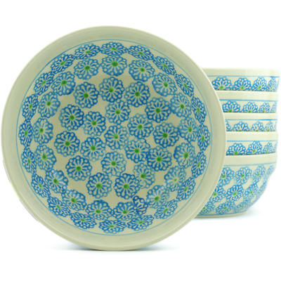 "Polish Pottery Set of 6 Bowls 7"" Daisies"