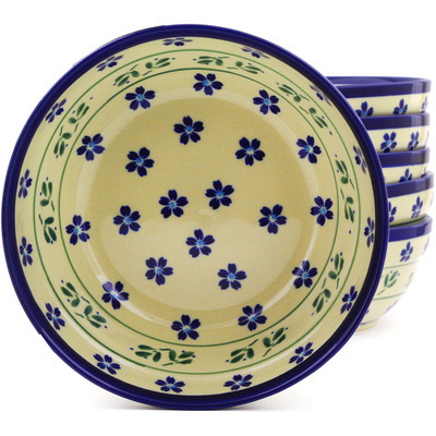 "Polish Pottery Set of 6 Bowls 7"" Daisy Field"