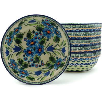 "Polish Pottery Set of 6 Bowls 7"" Evangeline UNIKAT"