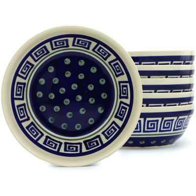 "Polish Pottery Set of 6 Bowls 7"" Greek Key"
