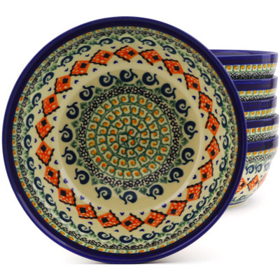 "Polish Pottery Set of 6 Bowls 7"" Green Mosaic UNIKAT"