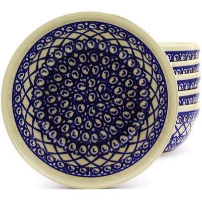 "Polish Pottery Set of 6 Bowls 7"" Lattice Peacock"