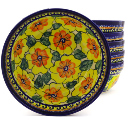 "Polish Pottery Set of 6 Bowls 7"" Lemon Poppies UNIKAT"