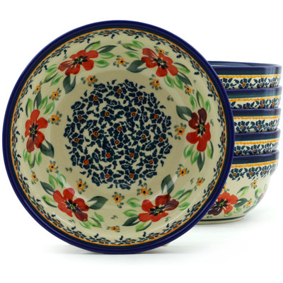 "Polish Pottery Set of 6 Bowls 7"" Nightingale Flower"