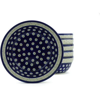 "Polish Pottery Set of 6 Bowls 7"" Peacock Polka Dot"