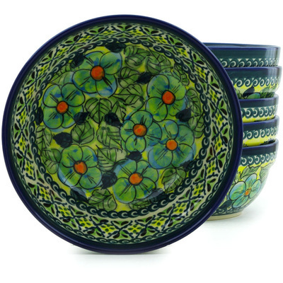 "Polish Pottery Set of 6 Bowls 7"" Peek-a-blue UNIKAT"