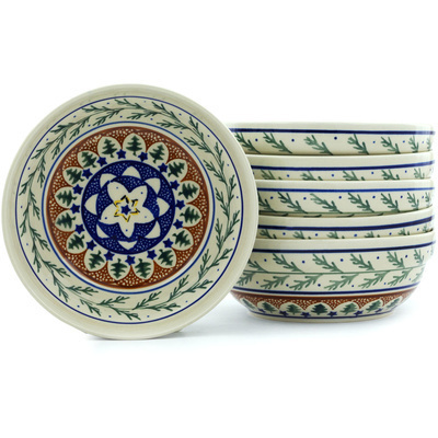 "Polish Pottery Set of 6 Bowls 7"" Pine Boughs"