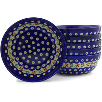 "Polish Pottery Set of 6 Bowls 7"" Red Daisy Peacock"