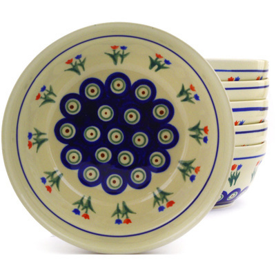 "Polish Pottery Set of 6 Bowls 7"" Tulip Pair Peacock"