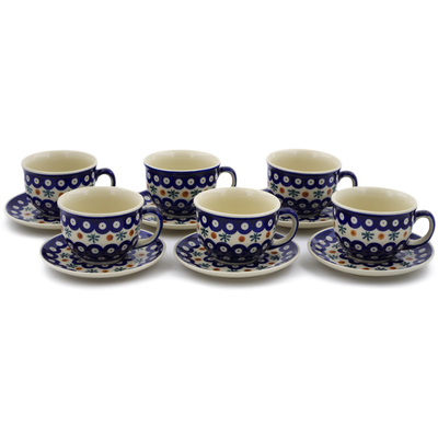 Polish Pottery Set of 6 Cups with Saucers Mosquito