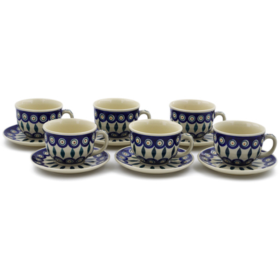 Polish Pottery Set of 6 Cups with Saucers Peacock
