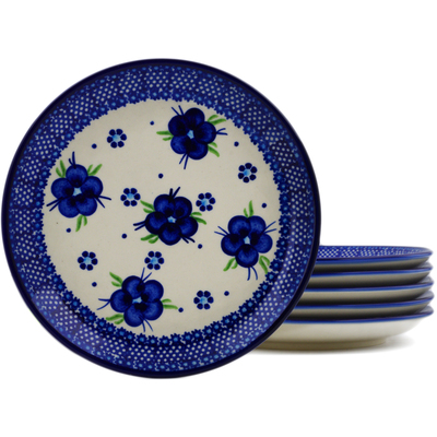 Polish Pottery Set of 6 dessert plates Bleu-belle Fleur