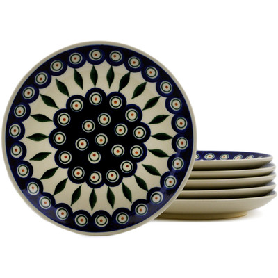 Polish Pottery Set of 6 dessert plates Peacock