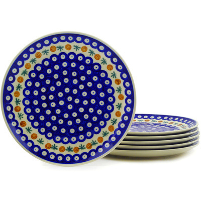 "Polish Pottery Set of 6 Dinner Plates 10"" Mosquito"