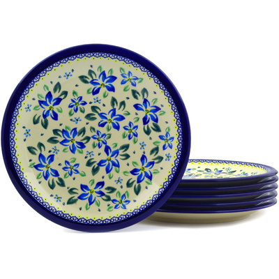 "Polish Pottery Set of 6 Plates 11"" Blue Clematis"