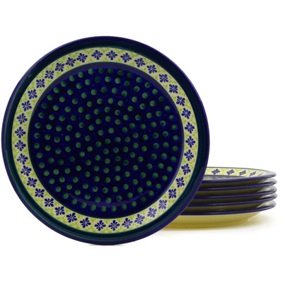 "Polish Pottery Set of 6 Plates 11"" Green Gingham Peacock"