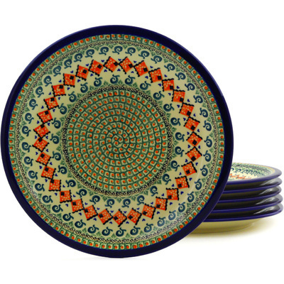 "Polish Pottery Set of 6 Plates 11"" Green Mosaic UNIKAT"