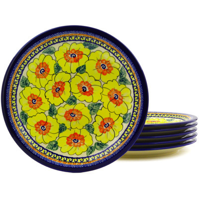 "Polish Pottery Set of 6 Plates 11"" Lemon Poppies UNIKAT"
