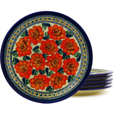 "Polish Pottery Set of 6 Plates 11"" Peach Poppies UNIKAT"