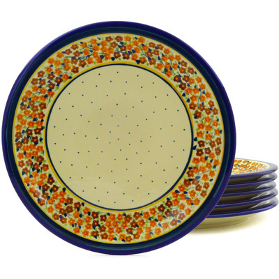 "Polish Pottery Set of 6 Plates 11"" Russett Floral"