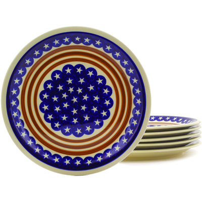 "Polish Pottery Set of 6 Plates 11"" Stars And Stripes Foreve"
