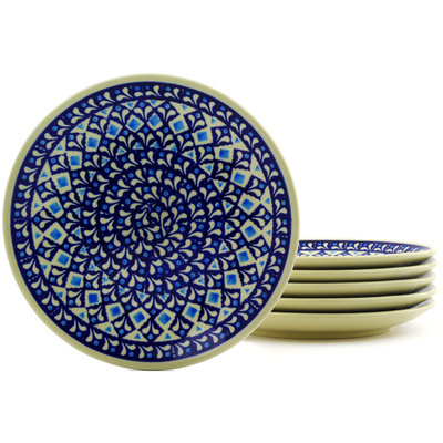 "Polish Pottery Set of 6 Plates 7"" Blue Diamond"