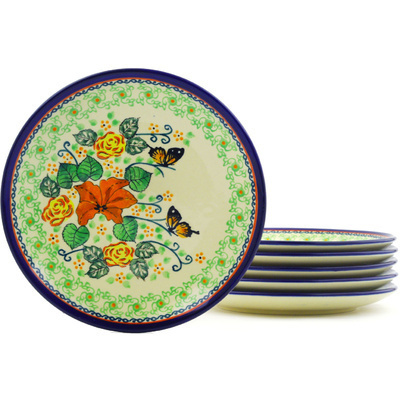 "Polish Pottery Set of 6 Plates 7"" Butterfly Meadow UNIKAT"