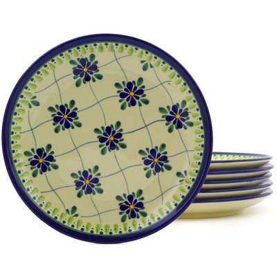 "Polish Pottery Set of 6 Plates 7"" Gingham Trellis"