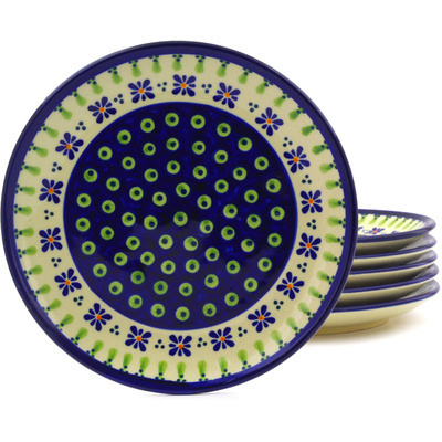 "Polish Pottery Set of 6 Plates 7"" Green Gingham Peacock"