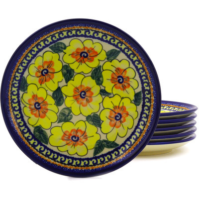 "Polish Pottery Set of 6 Plates 7"" Lemon Poppies UNIKAT"