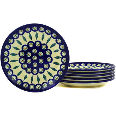 "Polish Pottery Set of 6 Plates 7"" Peacock Leaves"