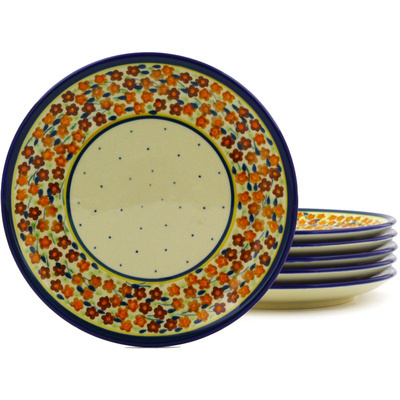 "Polish Pottery Set of 6 Plates 7"" Russett Floral"