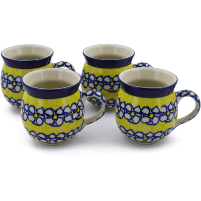 Polish Pottery Set of Four 12 oz Bubble Mugs Daisy Sunshine