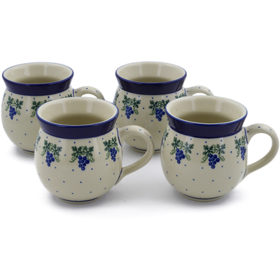 Polish Pottery Set of Four 12 oz Bubble Mugs Grape Vines