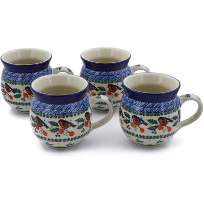 Polish Pottery Set of Four 12 oz Bubble Mugs Holly Robin