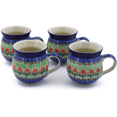 Polish Pottery Set of Four 12 oz Bubble Mugs Maraschino