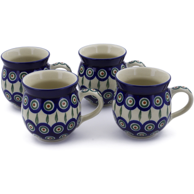 Polish Pottery Set of Four 12 oz Bubble Mugs Peacock Leaves