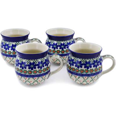 Polish Pottery Set of Four 12 oz Bubble Mugs Primrose Trellis
