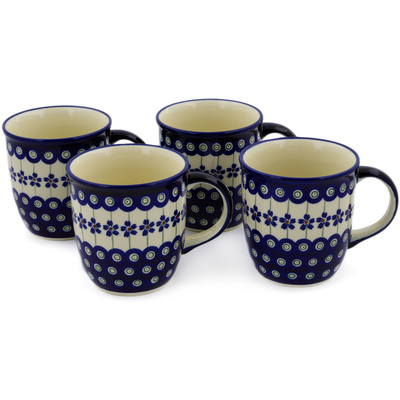 Polish Pottery Set of Four 12oz Mugs Flowering Peacock