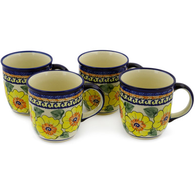 Polish Pottery Set of Four 12oz Mugs Lemon Poppies UNIKAT