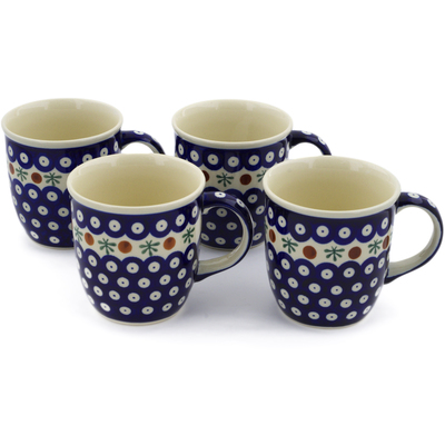 Polish Pottery Set of Four 12oz Mugs Mosquito