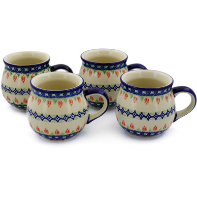 Polish Pottery Set of Four 12oz Mugs Tulips And Diamonds