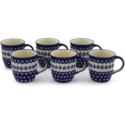 Polish Pottery Set of Six 12oz Mugs Flowering Peacock