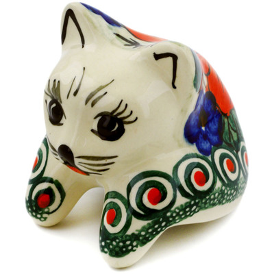 "Polish Pottery Shelf Sitting Cat Figurine 3"" Havana UNIKAT"