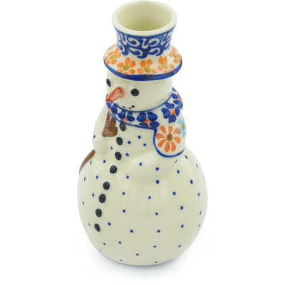 "Polish Pottery Snowman Candle Holder 6"" Blissful Daisy"