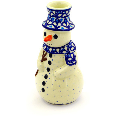 "Polish Pottery Snowman Candle Holder 6"" Blue Diamond"