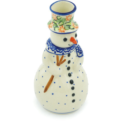"Polish Pottery Snowman Candle Holder 6"" Elegant Garland"